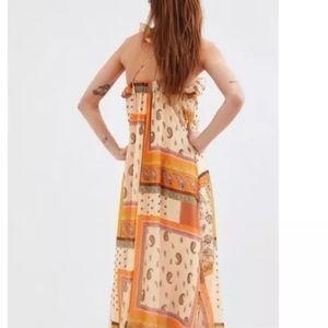 Nwt Zara Orange Paisley Patch Boho Dress Fall XXS
